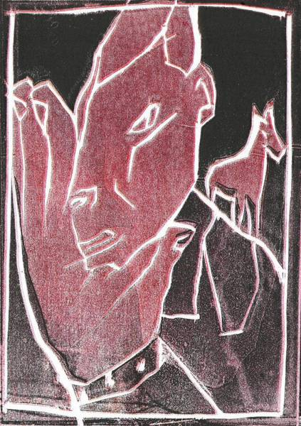 Relief - I Was Born In A Mine Woodcut 63 by Artist Dot