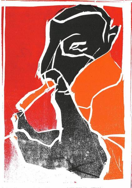 Relief - I Was Born In A Mine Woodcut 68 by Artist Dot
