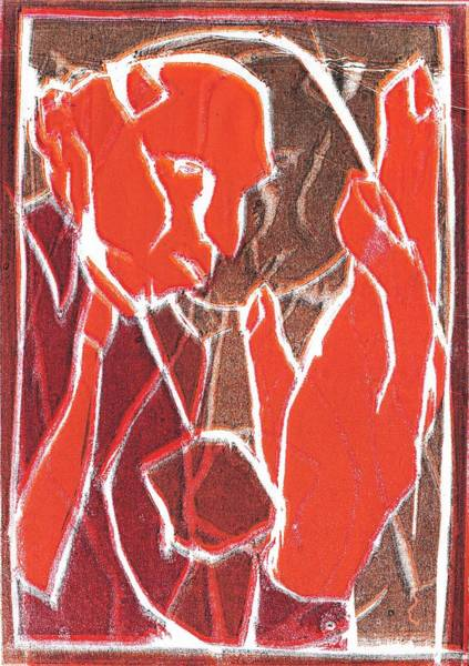 Relief - I Was Born In A Mine Woodcut 81 by Artist Dot