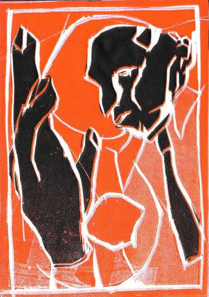 Relief - I Was Born In A Mine Woodcut 85 by Artist Dot