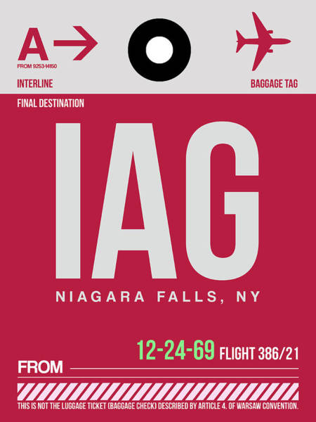 Wall Art - Digital Art - Iag Niagara Falls Luggage Tag I by Naxart Studio
