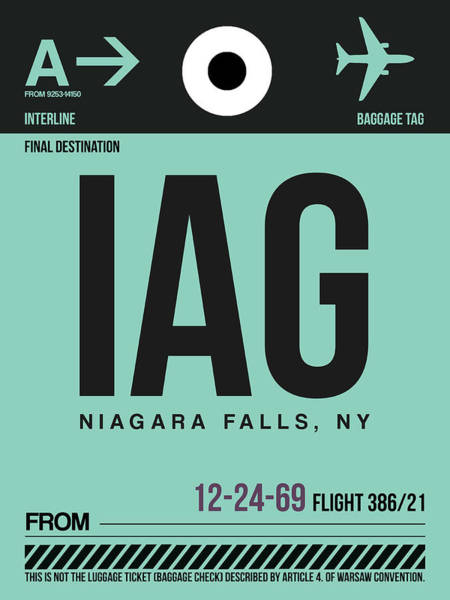 Wall Art - Digital Art - Iag Niagara Falls Luggage Tag II by Naxart Studio