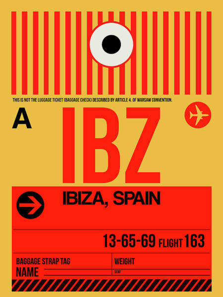 Wall Art - Digital Art - Ibz Ibiza Luggage Tag I by Naxart Studio