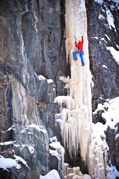 Climbing Photograph - Ice Climber On A Icefall, Rjukan by Hermann Erber / Look-foto