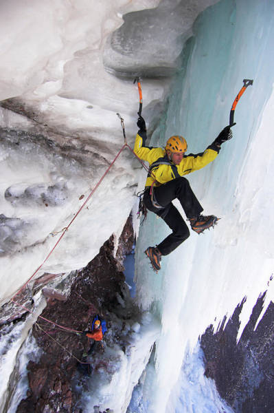 Climbing Photograph - Ice Climber On Icy Rock Face, Mount by Hermann Erber / Look-foto