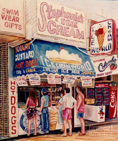 Painting - Ice Cream Shops Hot Dog Stands Colorful Yogurt Cafes C Spandau Canadian Artist Foodie Art Urban Eats by Carole Spandau