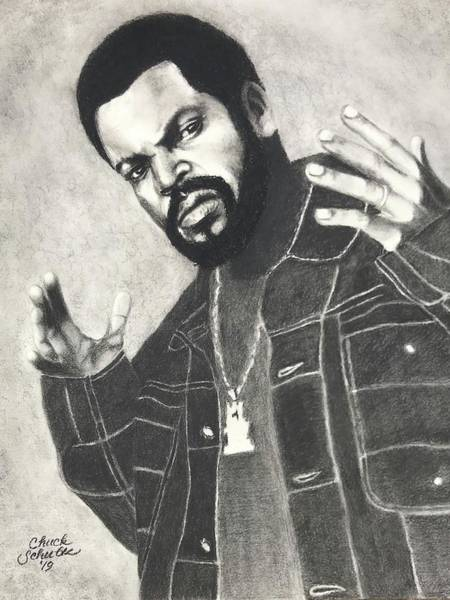 Wall Art - Drawing - Ice Cube What Up by Chuck Schultz