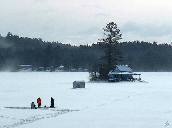 Photograph - Ice Fishing Hello Bill Island Newfound Lake by Wayne King