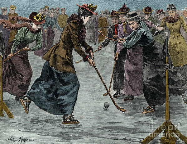 Wall Art - Drawing - Ice Hockey  Ladies Match On The Lake In Wimbledon Park by Arthur Hopkins