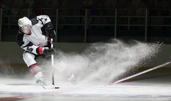 Sport Photograph - Ice Hockey Players Facing Off by Ryan Mcvay