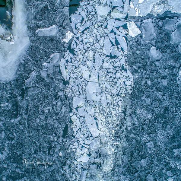 Photograph - Ice Puzzle At Haddam Swing Bridge  by Michael Hughes