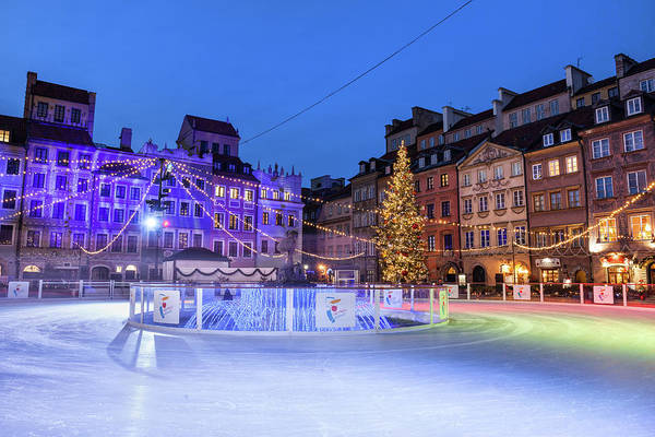 Wall Art - Photograph - Ice Rink In Old Town Of Warsaw City At Night by Artur Bogacki
