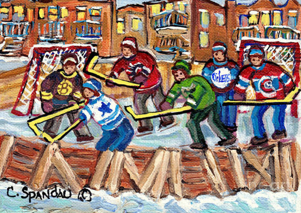 Painting - Ice Rinks Winter Scenes Hockey Teams Bruins Sens Flames Leafs Habs Oilers C Spandau Hockey Artist    by Carole Spandau