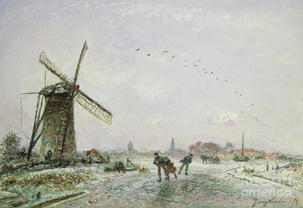 Figure Skater Painting - Ice Skaters In Holland, 1872 by Johan-Barthold Jongkind