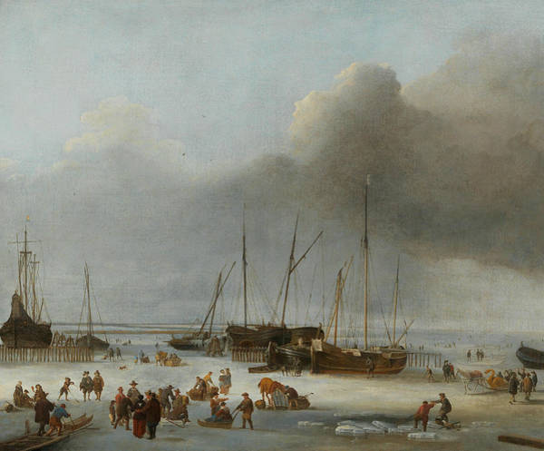 Wall Art - Painting - Ice-skating On The Eastern Docks Of Amsterdam by Hendrick Dubbels