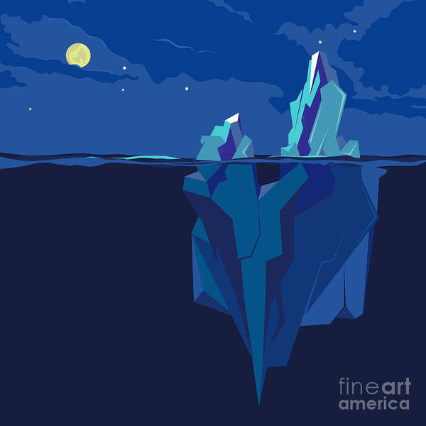 Dark Blue Digital Art - Iceberg Underwater And Above Water At by Tatyanatvk