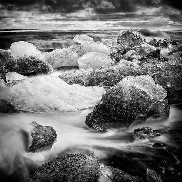 Wall Art - Photograph - Icebergs In Iceland Black And White by Matthias Hauser