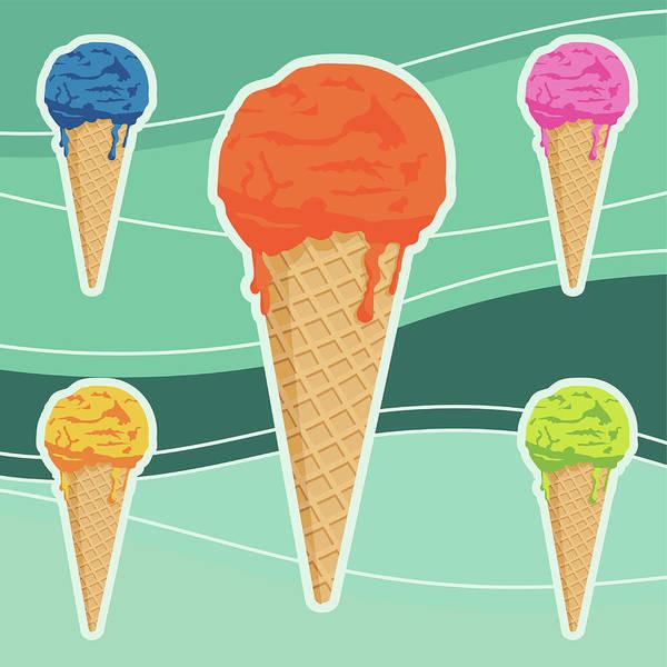 Frozen Food Digital Art - Icecreams by Myillo