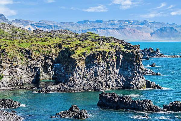 Basalt Photograph - Iceland, Arnarstapi, Basalt Rock Cliffs by Miva Stock