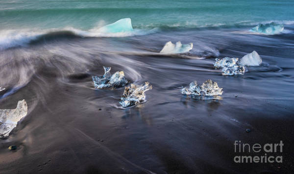 Wall Art - Photograph - Iceland Black Sand Beaches Ice Diamonds by Mike Reid