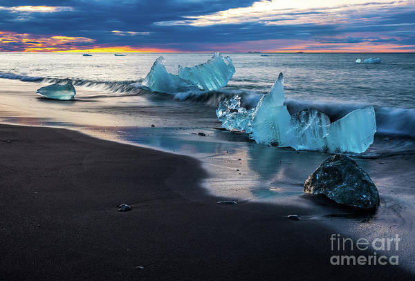 Wall Art - Photograph - Iceland Black Sand Beaches Ice Sculptures by Mike Reid