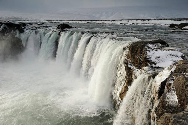Season Photograph - Iceland, Godafoss Waterfall In Winter by Philippe Crochet