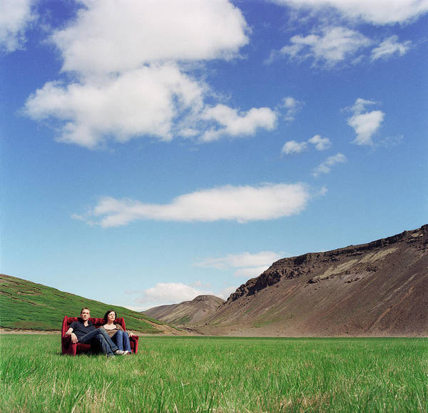 Wall Art - Photograph - Iceland, Kaldidalur, Young Couple On by Martin Barraud
