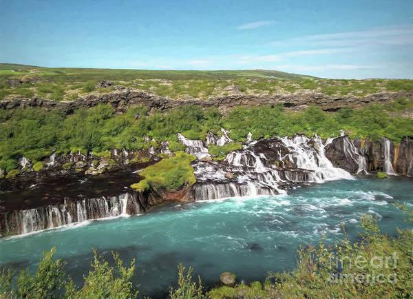 Icelandic Digital Art - Icelandic Waterfall by Elisabeth Lucas
