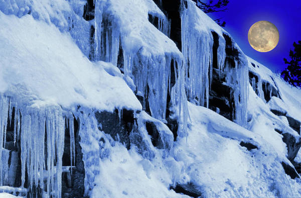 Wall Art - Photograph - Icicles And Moon by Images Etc Ltd
