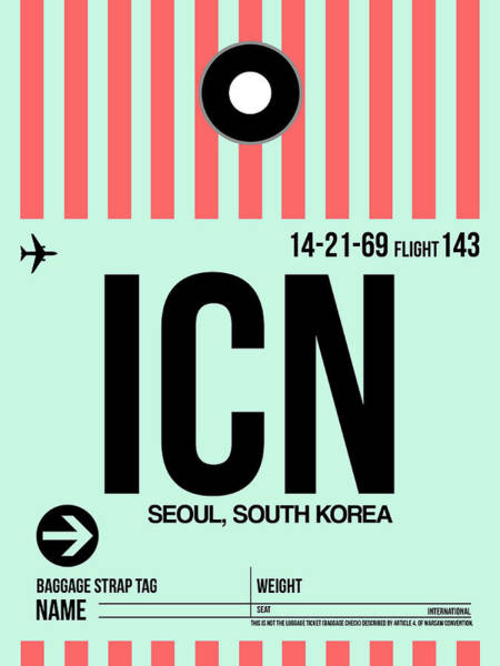 Wall Art - Digital Art - Icn Seoul Luggage Tag I by Naxart Studio