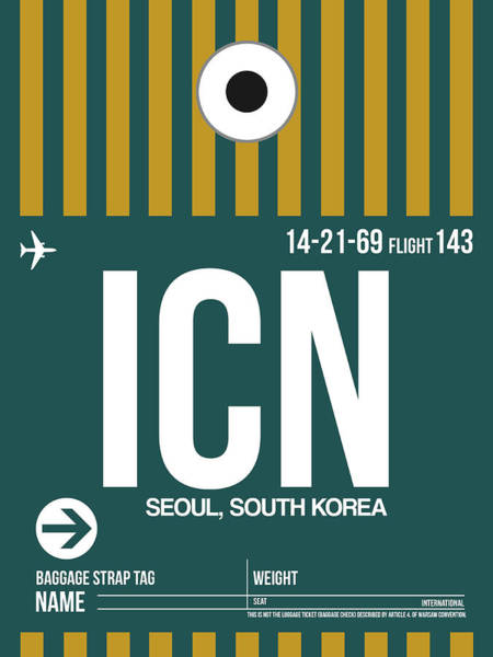 Wall Art - Digital Art - Icn Seoul Luggage Tag II by Naxart Studio