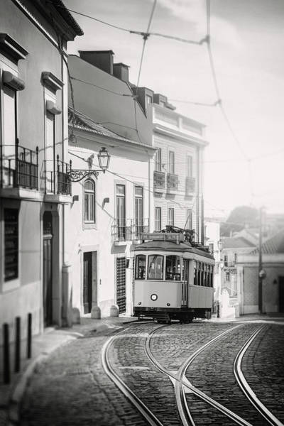 Wall Art - Photograph - Iconic Tram 28 Lisbon Portugal Black And White by Carol Japp
