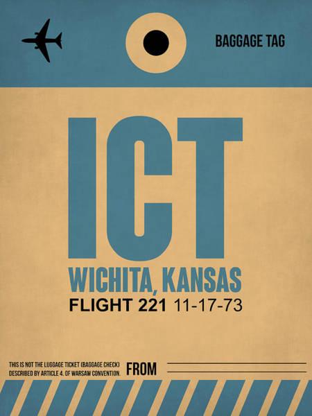 Wall Art - Digital Art - Ict Wichita Luggage Tag I by Naxart Studio