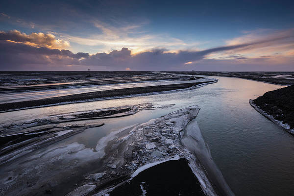 Travel Destinations Photograph - Icy River Channels At Sunset by Ed Norton
