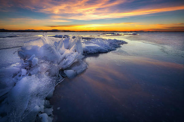 Photograph - Icy Sunset On Antelope Island  by Michael Ash