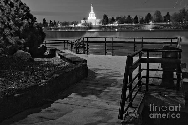 Photograph - Idaho Fall Riverwalk Temple View Black And White by Adam Jewell