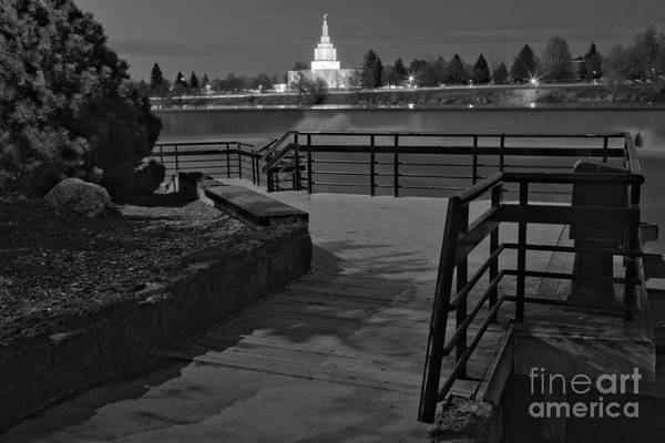 Photograph - Idaho Falls Riverwalk Boardwalk Black And White by Adam Jewell