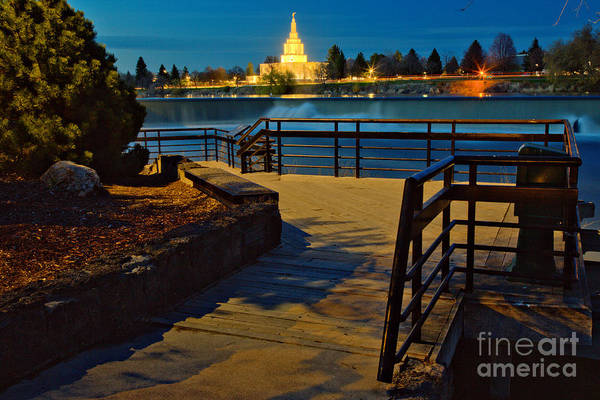 Photograph - Idaho Falls Riverwalk Temple View by Adam Jewell