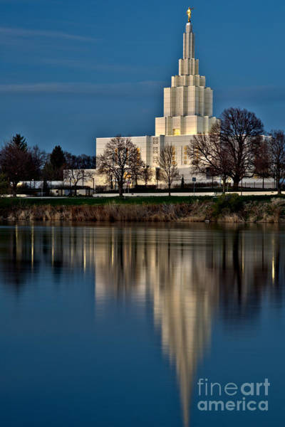 Photograph - Idaho Falls Temple Afternoon Reflections by Adam Jewell