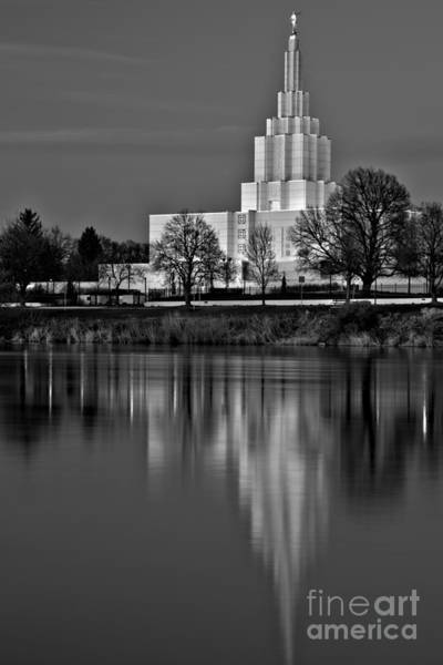 Photograph - Idaho Falls Temple Afternoon Reflections Black And White by Adam Jewell