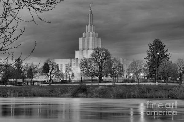 Photograph - Idaho Falls Temple Black And White by Adam Jewell