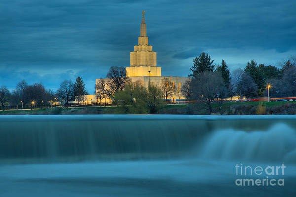 Photograph - Idaho Falls Temple Blue Hour by Adam Jewell