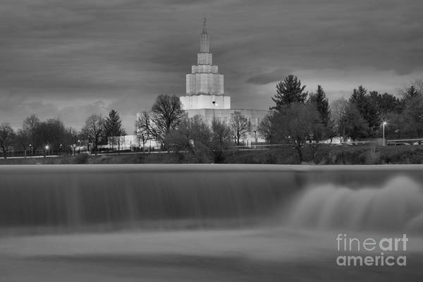 Photograph - Idaho Falls Temple Blue House Black And White by Adam Jewell