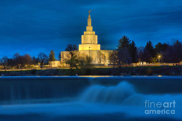 Photograph - Idaho Falls Temple Evening Glow by Adam Jewell