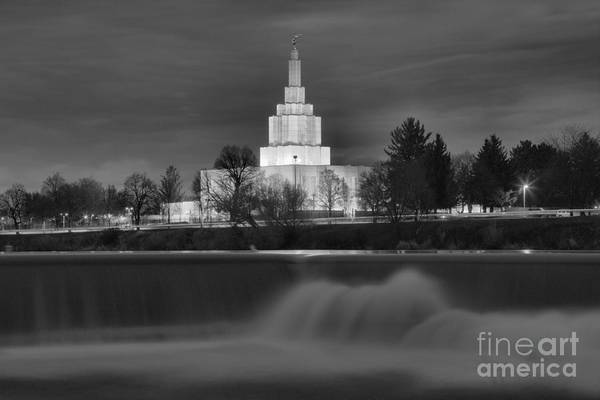 Photograph - Idaho Falls Temple Evening Glow Black And White by Adam Jewell