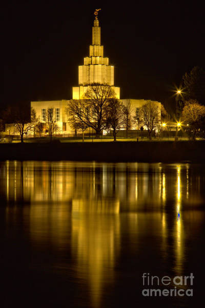 Photograph - Idaho Falls Temple Midnight View by Adam Jewell