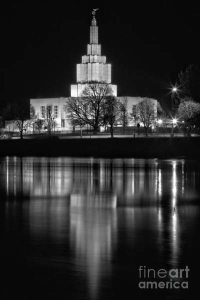 Photograph - Idaho Falls Temple Midnight View Black And White by Adam Jewell