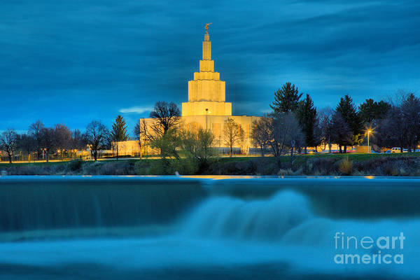 Photograph - Idaho Falls Temple Over The Falls by Adam Jewell