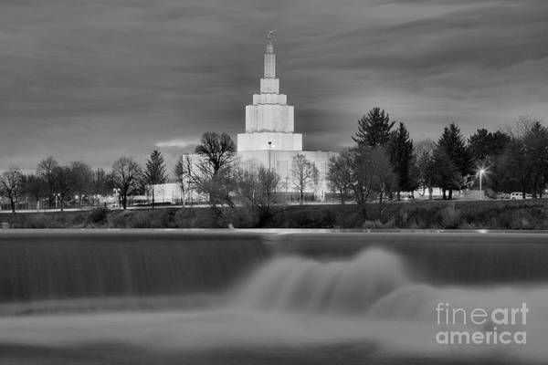 Photograph - Idaho Falls Temple Over The Falls Black And White by Adam Jewell