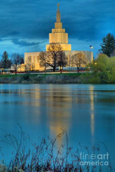 Photograph - Idaho Falls Temple Reflection Portrait by Adam Jewell